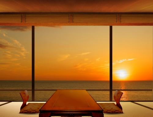 部屋から見る夕陽は別世界