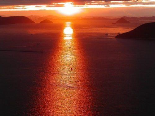 屋島山上からの夕陽